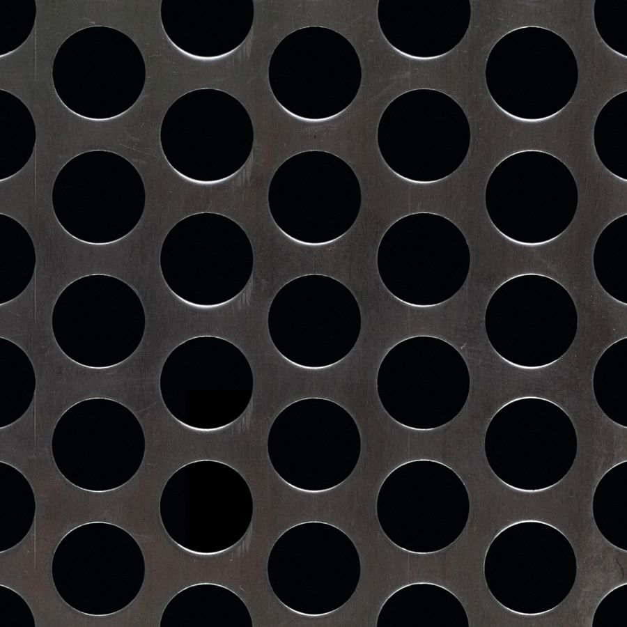"McNICHOLS® Perforated Metal Round, Aluminum, Alloy 3003-H14, .1250"" Thick (8 Gauge), 3/4"" Round on 1"" Staggered Centers, 51% Open Area"