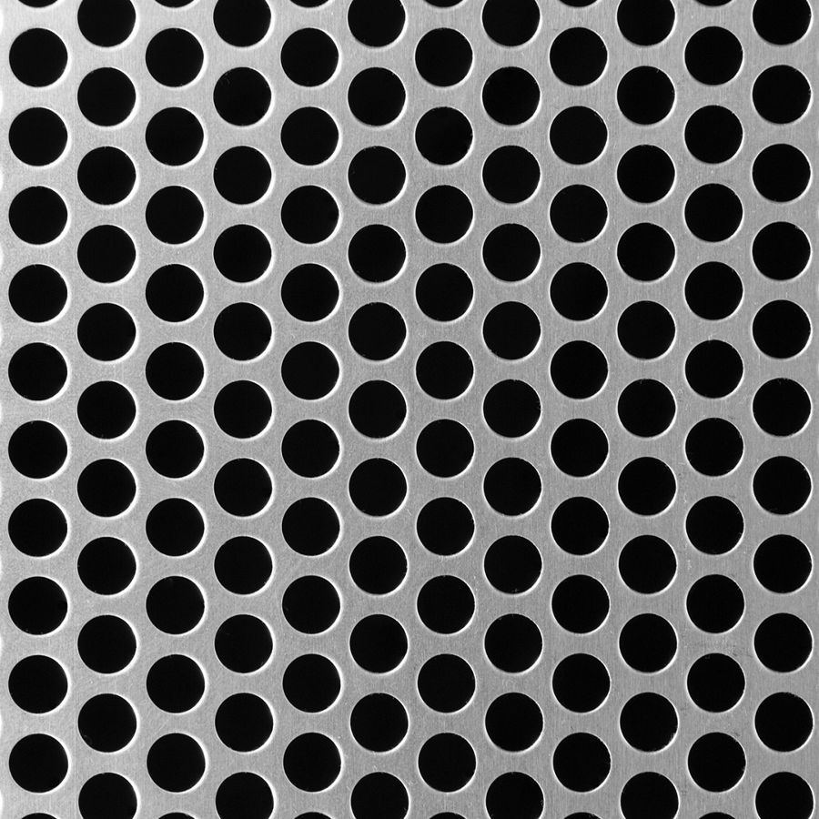 "McNICHOLS® Perforated  Metal Round, Aluminum, Type 3003-H14, .0630"" Thick (14 Gauge), 3/8"" Round on 1/2"" Staggered Centers, 51% Open Area"