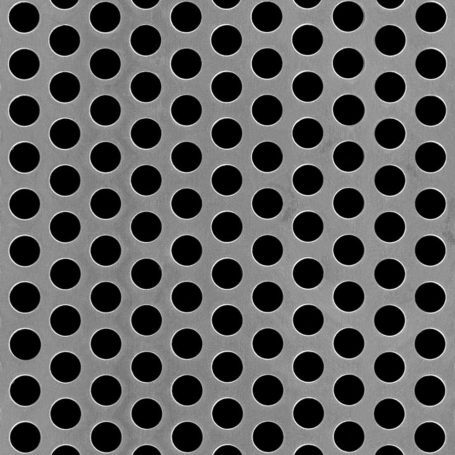 "McNICHOLS® Perforated Metal Round, Aluminum, Alloy 3003-H14, .1250"" Thick (8 Gauge), 3/8"" Round on 9/16"" Staggered Centers, 40% Open Area"