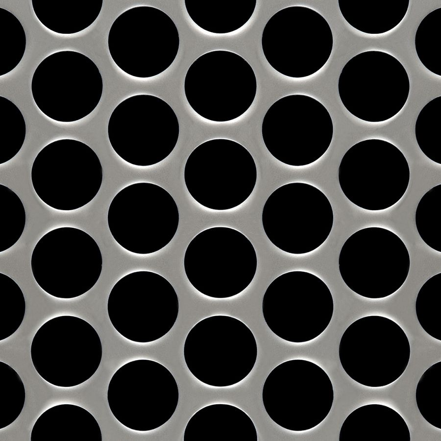 "McNICHOLS® Perforated Metal Round, Stainless Steel, Type 304, 11 Gauge (.1250"" Thick), 1"" Round on 1-1/4"" Staggered Centers, 58% Open Area"