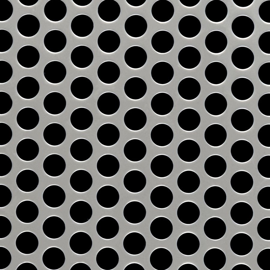 "McNICHOLS® Perforated Metal Round, Stainless Steel, Type 304, 11 Gauge (.1250"" Thick), 1/2"" Round on 11/16"" Staggered Centers, 48% Open Area"