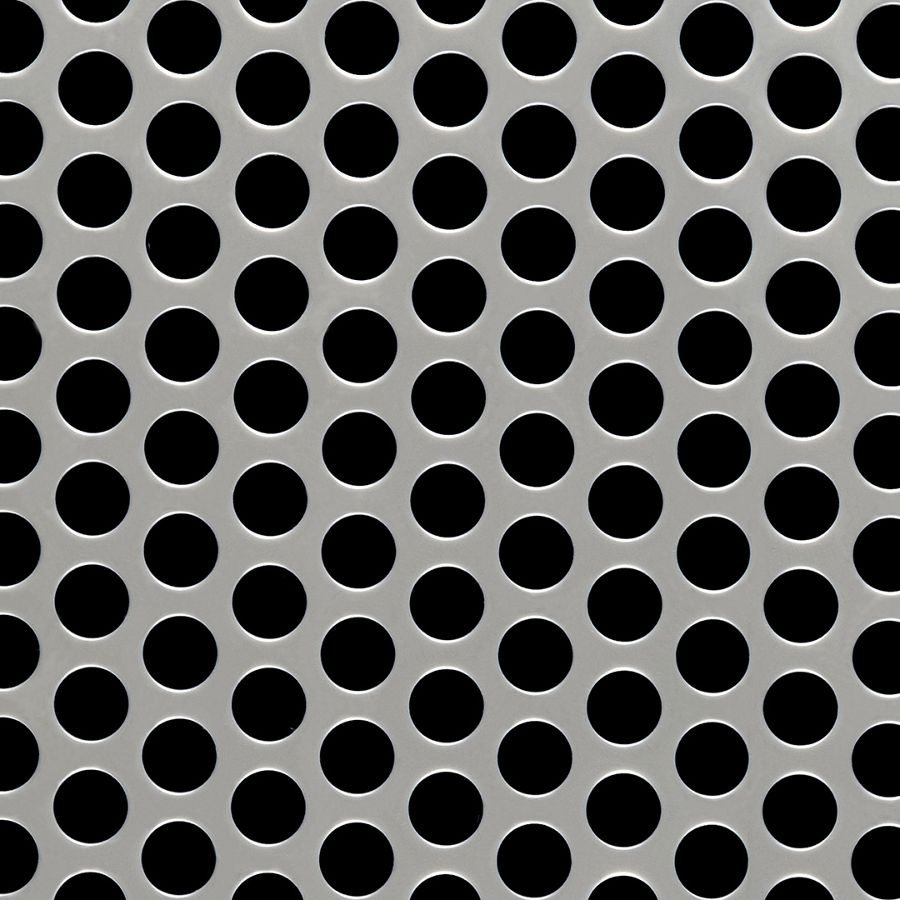 """McNICHOLS® Perforated Metal Round, Stainless Steel, Type 304, 16 Gauge (.0625"""" Thick), 1/2"""" Round on 11/16"""" Staggered Centers, 48% Open Area"""