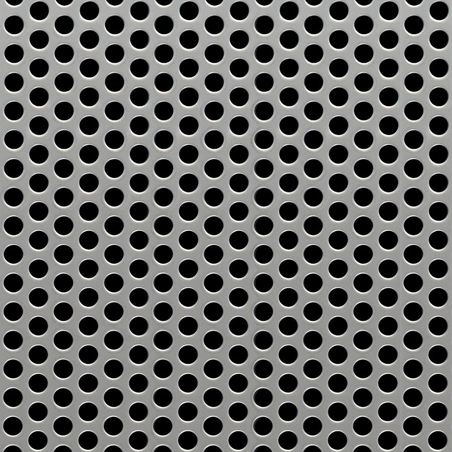 "McNICHOLS® Perforated Metal Round, Stainless Steel, Type 304, 11 Gauge (.1250"" Thick), 1/4"" Round on 3/8"" Staggered Centers, 40% Open Area"