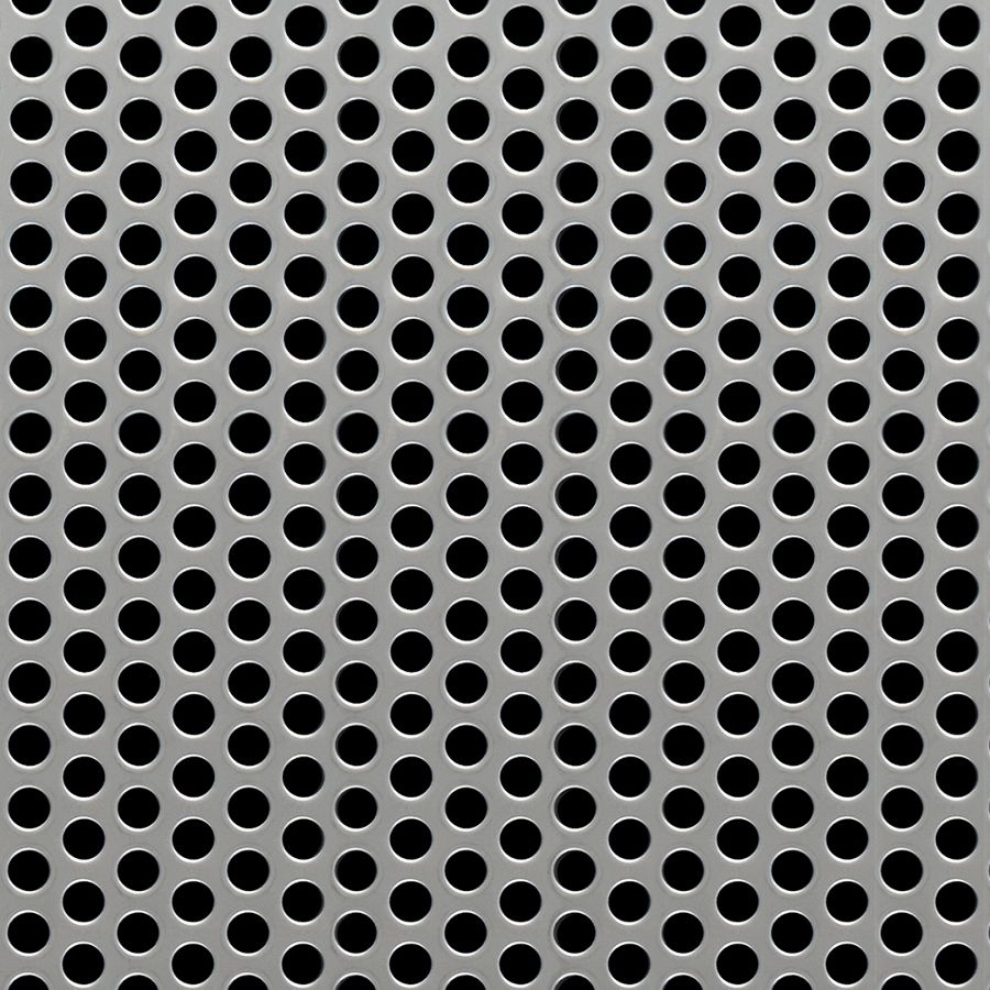 "McNICHOLS® Perforated  Metal Round, Stainless Steel, Type 304, 14 Gauge (.0781"" Thick), 1/4"" Round on 3/8"" Staggered Centers, 40% Open Area"