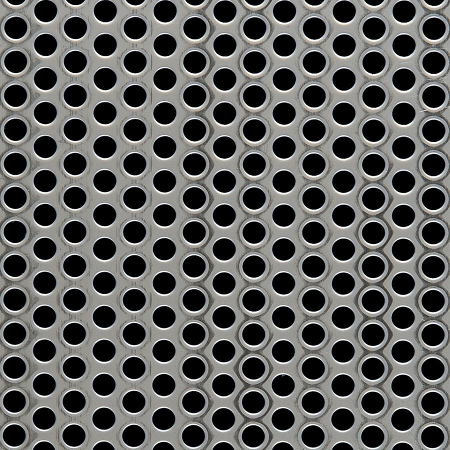 "McNICHOLS® Perforated Metal Round, Stainless Steel, Type 304, 16 Gauge (.0625"" Thick), 1/4"" Round on 3/8"" Staggered Centers, 40% Open Area"