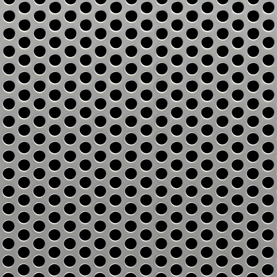 "McNICHOLS® Perforated Metal Round, Stainless Steel, Type 304, 18 Gauge (.0500"" Thick), 1/4"" Round on 3/8"" Staggered Centers, 40% Open Area"
