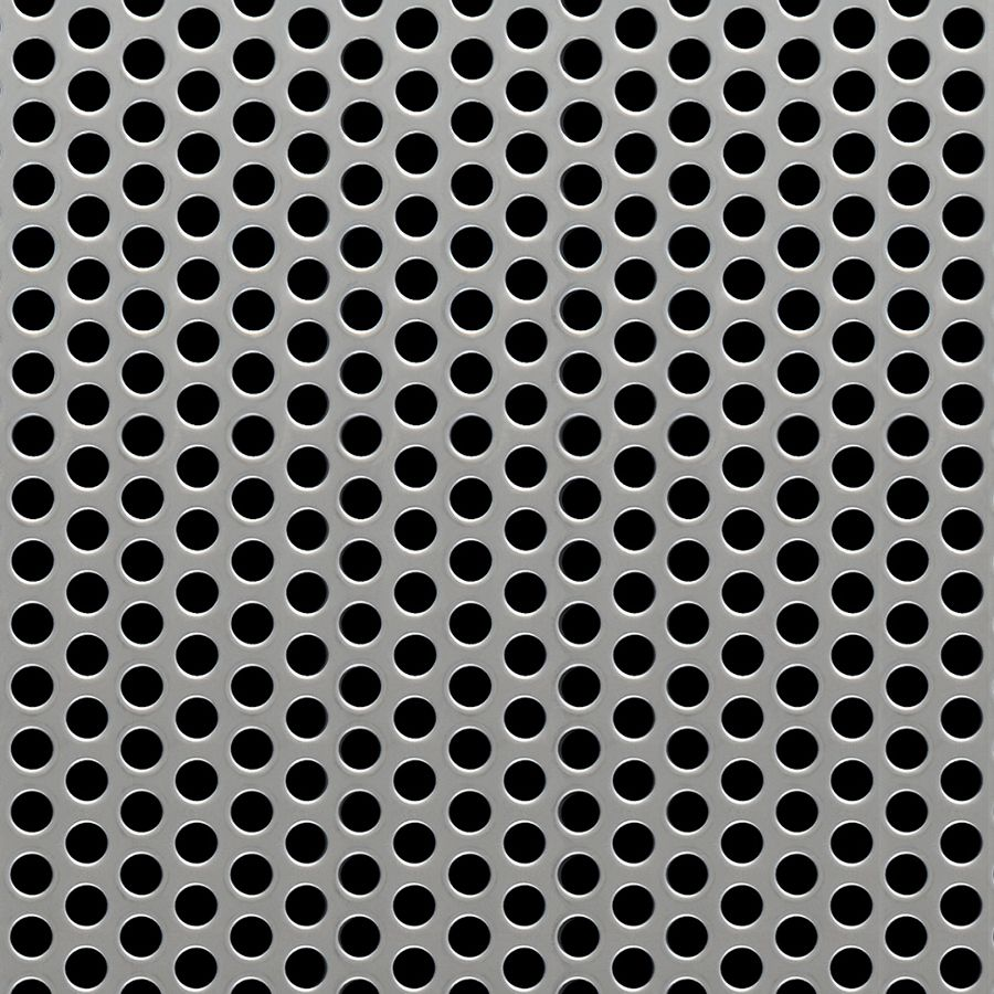"McNICHOLS® Perforated Metal Round, Stainless Steel, Type 304, 20 Gauge (.0375"" Thick), 1/4"" Round on 3/8"" Staggered Centers, 40% Open Area"