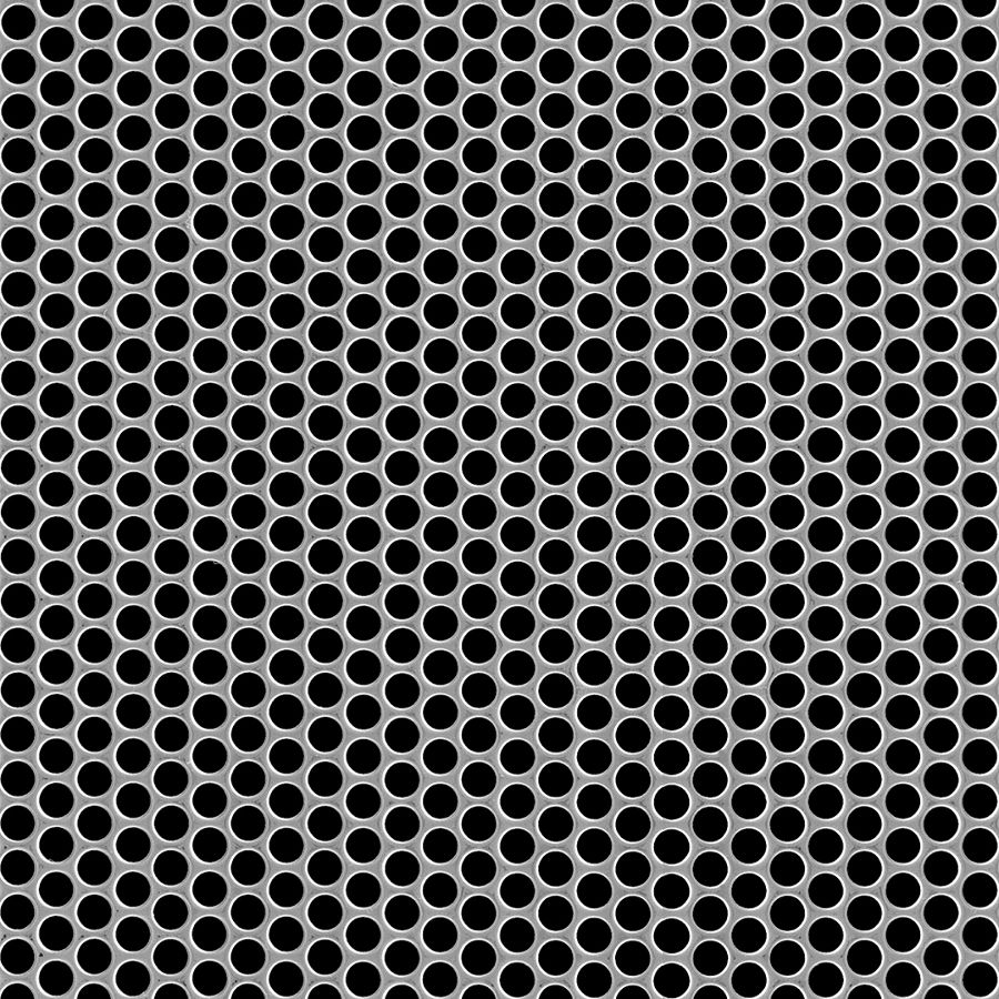 "McNICHOLS® Perforated Metal Round, Stainless Steel, Type 304, 18 Gauge (.0500"" Thick), 1/4"" Round on 5/16"" Staggered Centers, 58% Open Area"