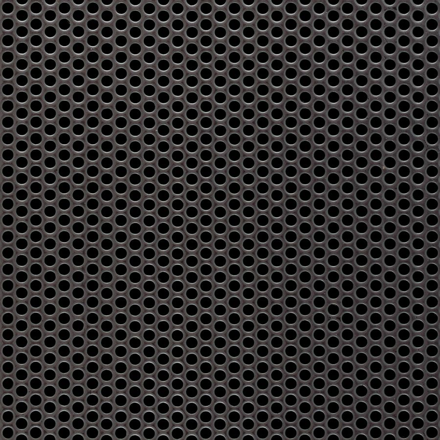 "McNICHOLS® Perforated  Metal Round, Stainless Steel, Type 304, 11 Gauge (.1200"" Thick), 1/8"" Round on 3/16"" Staggered Centers, 40% Open Area"