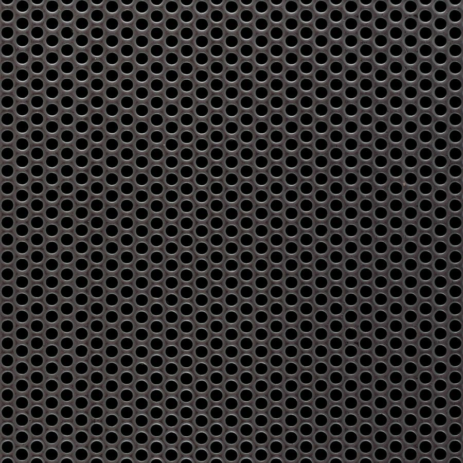 "McNICHOLS® Perforated Metal Round, Stainless Steel, Type 304, 12 Gauge (.1094"" Thick), 1/8"" Round on 3/16"" Staggered Centers, 40% Open Area"