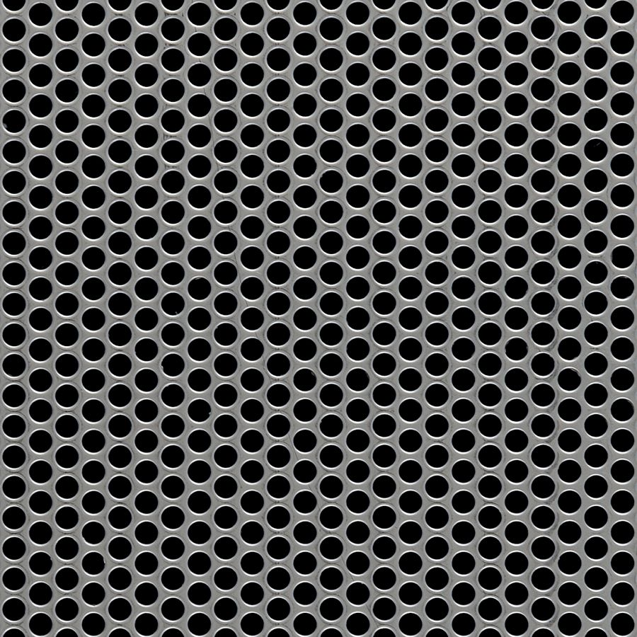 "McNICHOLS® Perforated Metal Round, Stainless Steel, Type 304, 16 Gauge (.0625"" Thick), 3/16"" Round on 1/4"" Staggered Centers, 51% Open Area"