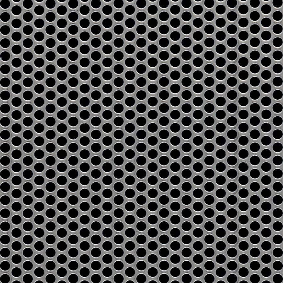 "McNICHOLS® Perforated Metal Round, Stainless Steel, Type 304, 18 Gauge (.0500"" Thick), 3/16"" Round on 1/4"" Staggered Centers, 51% Open Area"