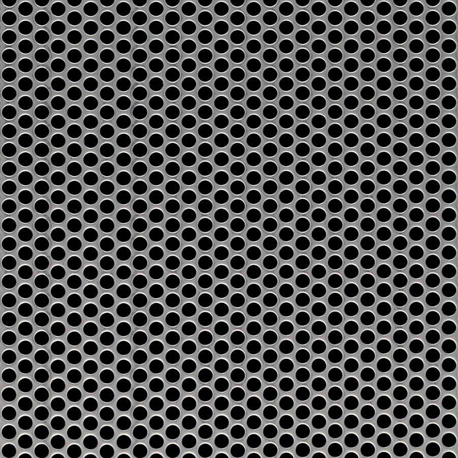 """McNICHOLS® Perforated  Metal Round, Stainless Steel, Type 304, 20 Gauge (.0375"""" Thick), 3/16"""" Round on 1/4"""" Staggered Centers, 51% Open Area"""