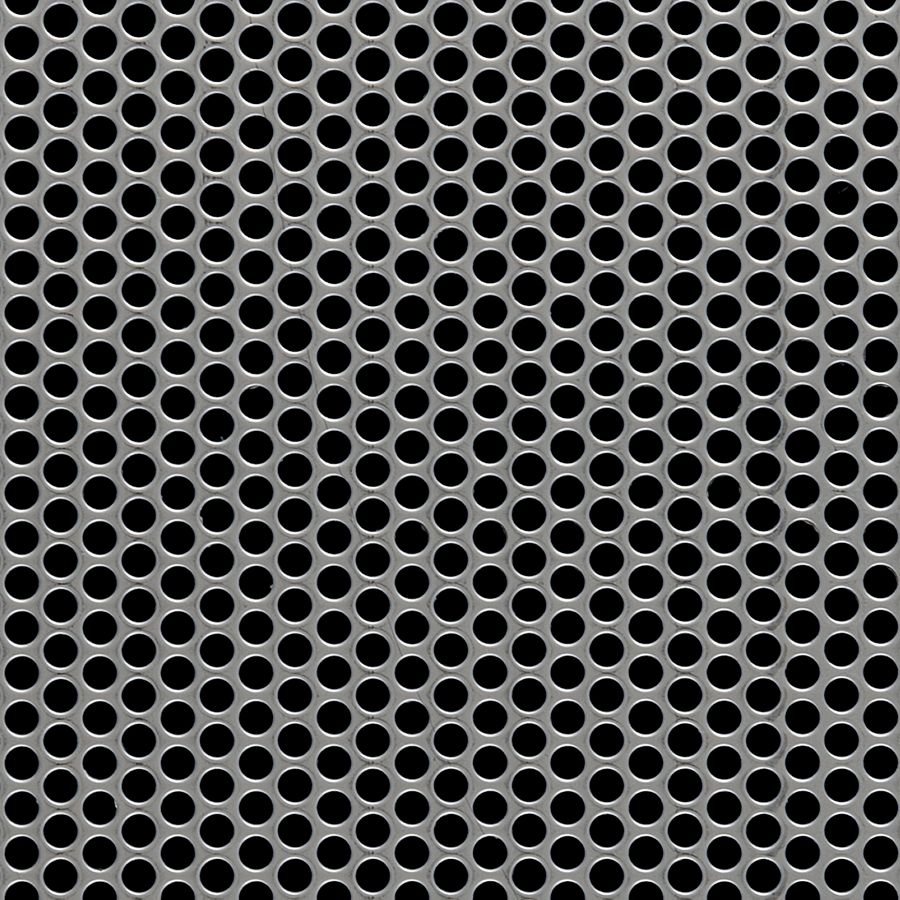 "McNICHOLS® Perforated Metal Round, Stainless Steel, Type 304, 22 Gauge (.0312"" Thick), 3/16"" Round on 1/4"" Staggered Centers, 51% Open Area"