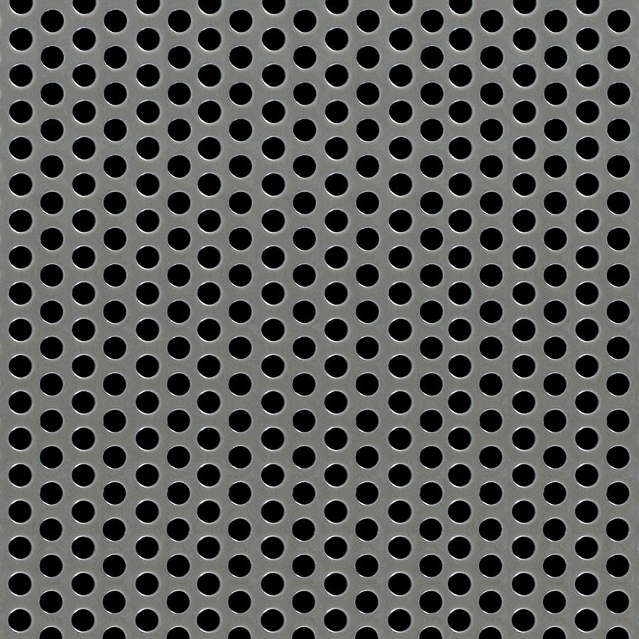 "McNICHOLS® Perforated Metal Round, Stainless Steel, Type 304, 11 Gauge (.1250"" Thick), 3/16"" Round on 5/16"" Staggered Centers, 33% Open Area"