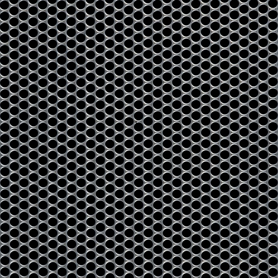 "McNICHOLS® Perforated Metal Round, Stainless Steel, Type 304, 16 Gauge (.0625"" Thick), 5/32"" Round on 3/16"" Staggered Centers, 63% Open Area"