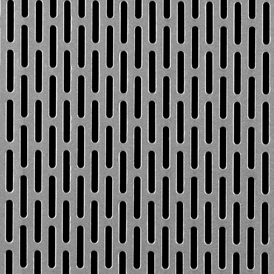 "McNICHOLS® Perforated Metal Designer Perforated, Slotted, MOIRE 2243, Carbon Steel, Cold Rolled, 22 Gauge (.0299"" Thick), 1/8"" x 3/4"" Round-End Slot, Side Staggered, 43% Open Area"