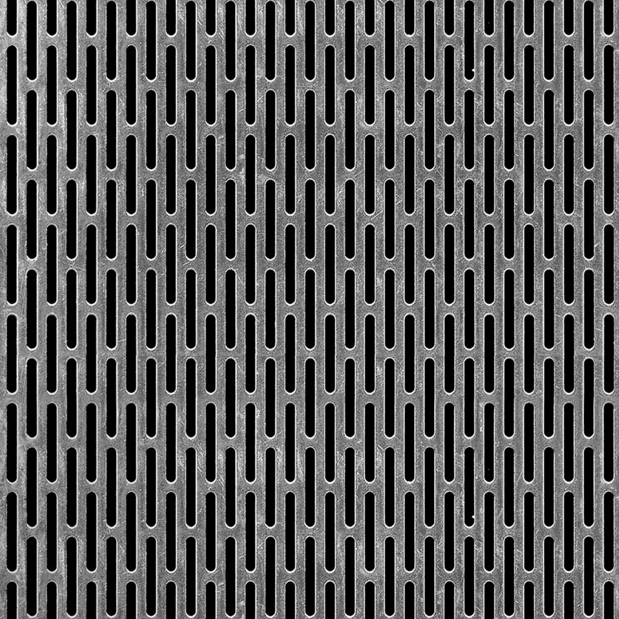 "McNICHOLS® Perforated  Metal Slotted, Aluminum, Type 3003-H14, .0630"" Thick (14 Gauge), 1/8"" x 1"" Round End Slot, Staggered, 44% Open Area"