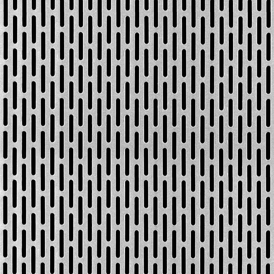 "McNICHOLS® Perforated  Metal Designer Perforated, MOIRE, Aluminum, Alloy 3003-H14, .0320"" Thick (20 Gauge), 1/8"" x 3/4"" Round End Slot, Side Staggered, 43% Open Area"