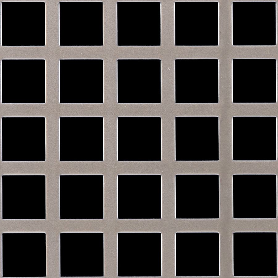 "McNICHOLS® Perforated  Metal Square, Carbon Steel, HRPO, 11 Gauge (.1196"" Thick), 3/4"" Square on 1"" Straight Centers, 56% Open Area"