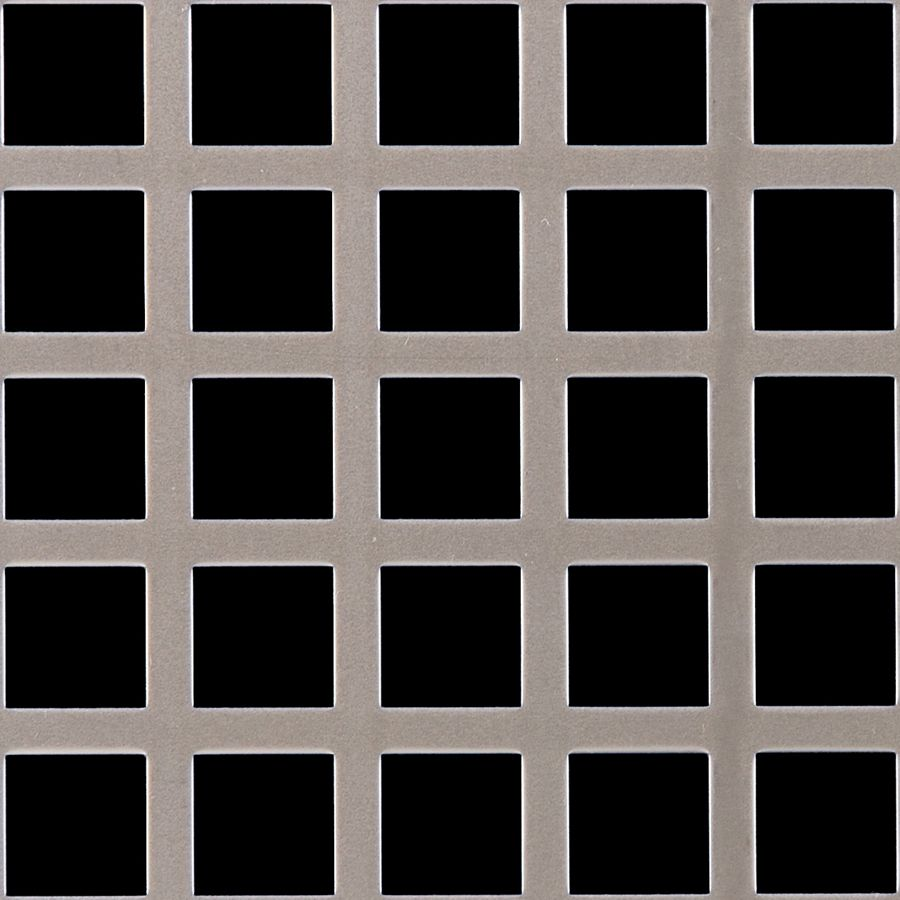 "McNICHOLS® Perforated Metal Square, Carbon Steel, Cold Rolled, 16 Gauge (.0598"" Thick), 3/4"" Square on 1"" Straight Centers, 56% Open Area"