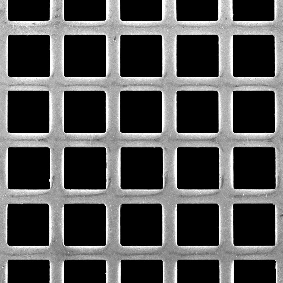 "McNICHOLS® Perforated Metal Square, Aluminum, Alloy 3003-H14, .0630"" Thick (14 Gauge), 3/4"" Square on 1"" Straight Centers, 56% Open Area"