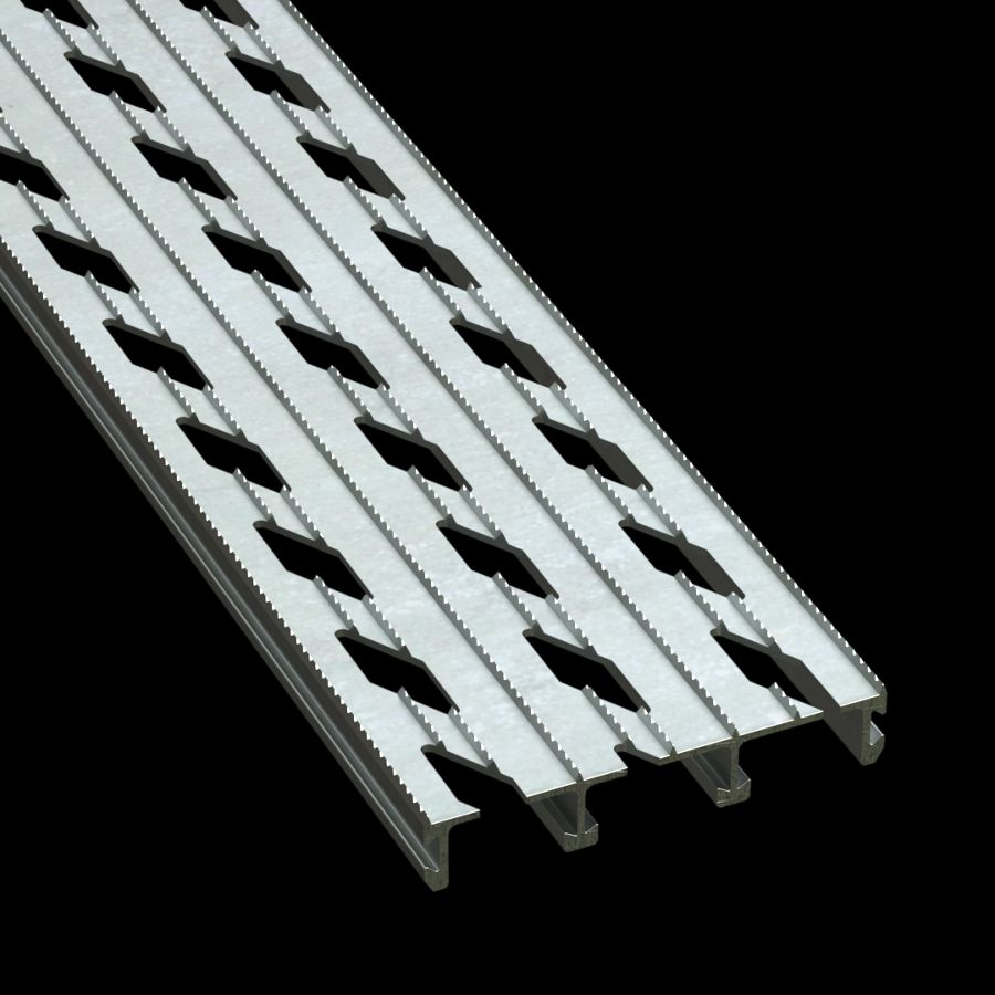 "McNICHOLS® Plank Grating Extruded Interlocking Plank, DIAMONDBACK®, Aluminum, Alloy 6061-T6 Extrusion, Diamond-Vented (6"" Width), 1"" Channel Depth, Diamond-Serrated Surface, 12% Open Area"
