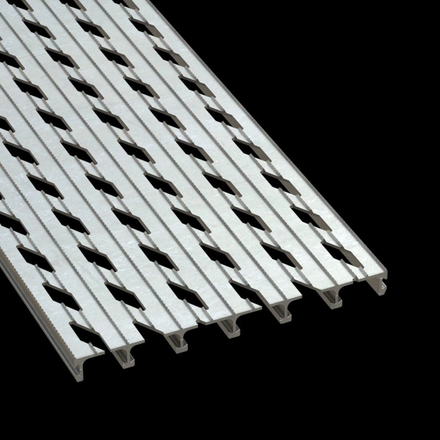 "McNICHOLS® Plank Grating Extruded Interlocking Plank, DIAMONDBACK®, Aluminum, Alloy 6061-T6 Extrusion, Diamond-Vented (12"" Width), 1"" Channel Depth, Diamond-Serrated Surface, 12% Open Area"