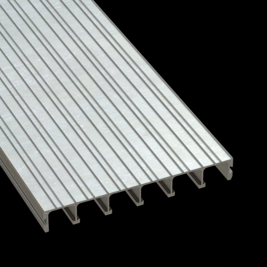 "McNICHOLS® Plank Grating Extruded Interlocking Plank, DIAMONDBACK®, ADA, Aluminum, Type 6061-T6, Solid (12"" Width), 1-1/2"" Channel Depth, Diamond Serrated Surface, 0% Open Area"