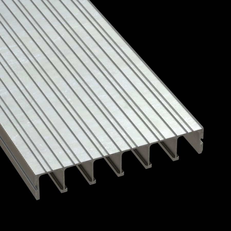 "McNICHOLS® Plank Grating Extruded Interlocking Plank, DIAMONDBACK®, ADA, Aluminum, Alloy 6061-T6 Extrusion, Solid (12"" Width), 2"" Channel Depth, Diamond-Serrated Surface, 0% Open Area"