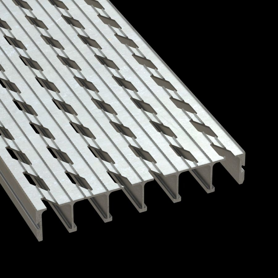 "McNICHOLS® Plank Grating Extruded Interlocking Plank, DIAMONDBACK®, Aluminum, Alloy 6061-T6 Extrusion, Vented (12"" Width), 2"" Channel Depth, Diamond-Serrated Surface, 12% Open Area"