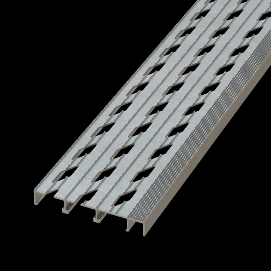 "McNICHOLS® Stair Treads Plank Grating, Extruded Stair Tread Plank, DIAMONDBACK®, Aluminum, Alloy 6061-T6 Extrusion, Vented (7"" Width), 1"" Channel Depth, Diamond Serrated Surface, 1"" Wide Integral Nosing on One Side of Tread Plank Length, 12% Open Area"