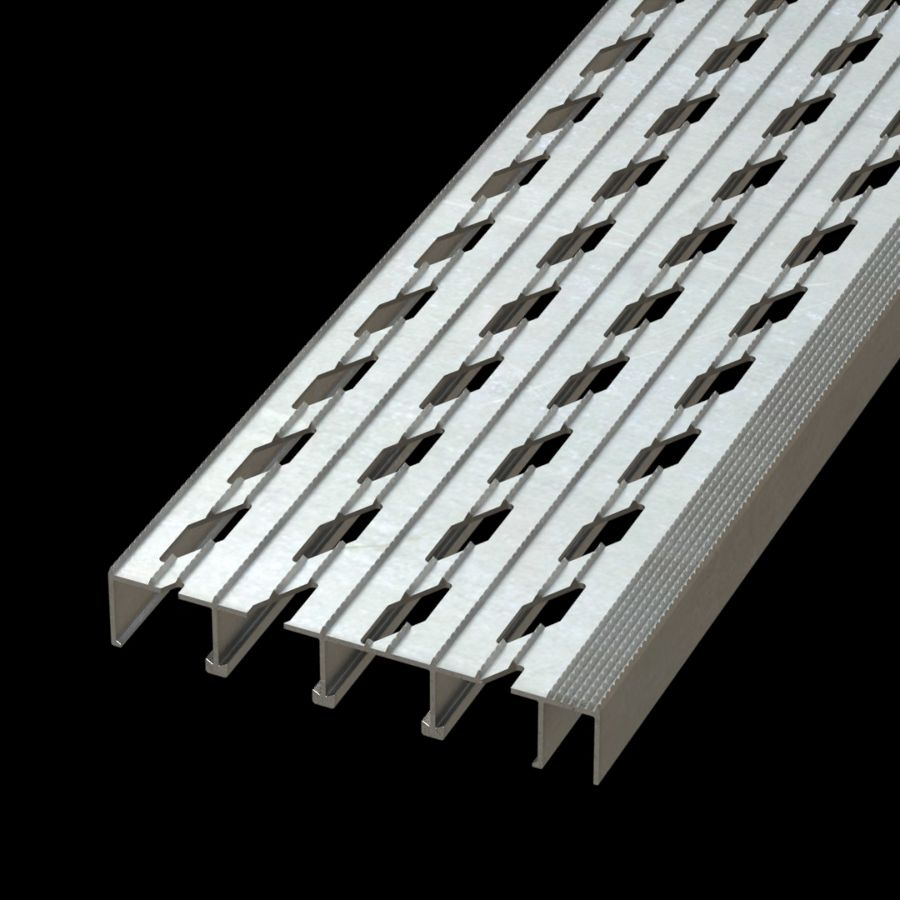 "McNICHOLS® Stair Treads Plank Grating, Extruded Stair Tread Plank, DIAMONDBACK®, Aluminum, Vented (9"" Width), 1-1/2"" Channel Depth, Diamond Serrated Surface, Integral Nosing, 12% Open Area"