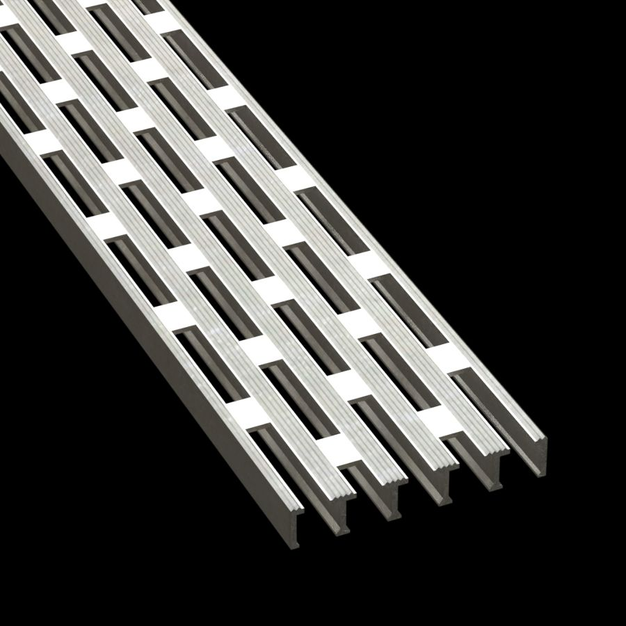 "McNICHOLS® Plank Grating Heavy-Duty Extruded Plank, HD-EXT, Aluminum, Alloy 6063-T6 Extrusion, Rectangular-Vented (6"" Width), 1"" Channel Depth, Grooved Surface, 37% Open Area"