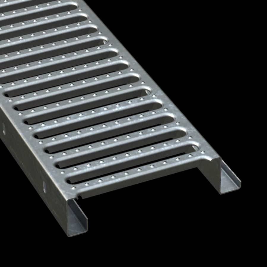 "McNICHOLS® Plank Grating Interlocking Plank, GRATE-LOCK®, Galvanized Steel, ASTM A-653, 14 Gauge (.0785"" Thick), Round-End Slot (9"" Width), 2-1/2"" Channel Depth, One Female Channel Flange, One Male Channel Flange, Slip-Resistant Surface, 41% Open Area"