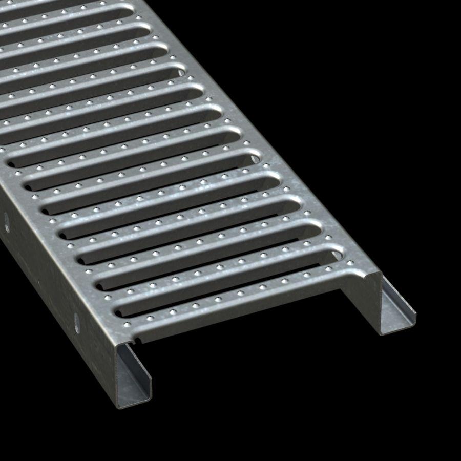 "McNICHOLS® Plank Grating Interlocking Plank, GRATE-LOCK®, Galvanized Steel, ASTM A-653, 14 Gauge (.0785"" Thick), Round-End Slot (9"" Width), 2-1/2"" Channel Depth, One Female Channel Flange, One Male Channel Flange, Slip-Resistant Surface, 38% Open Area"
