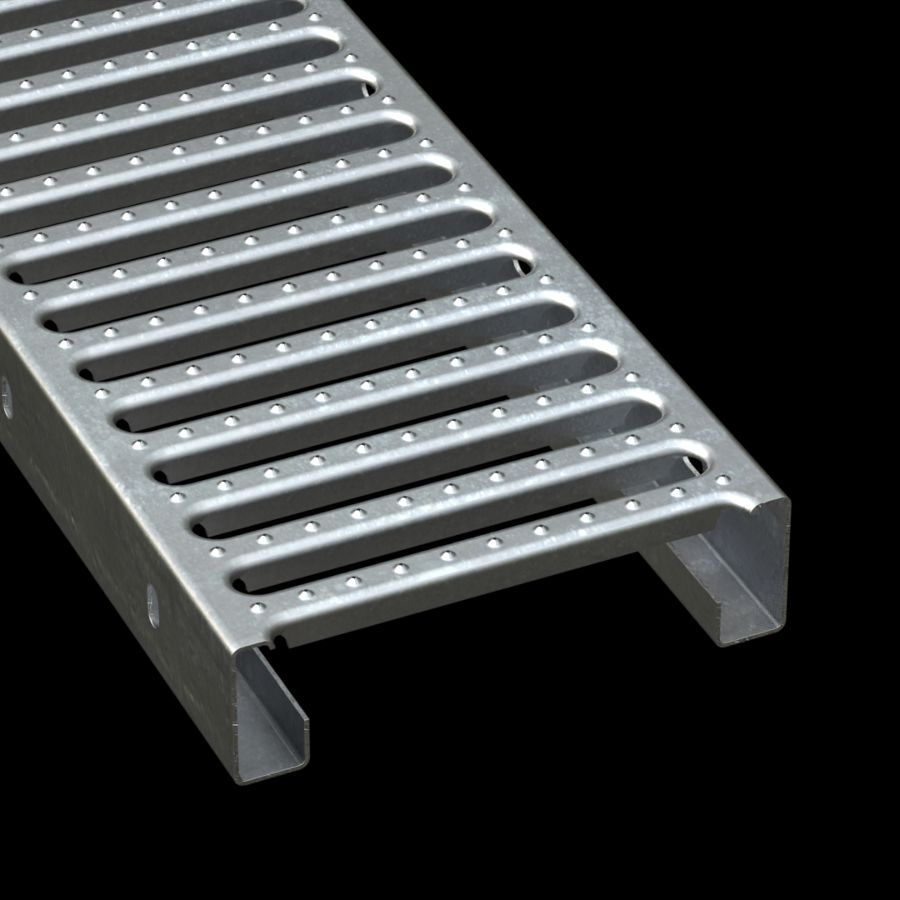 "McNICHOLS® Plank Grating Interlocking Plank, GRATE-LOCK®, Galvanized Steel, ASTM A-653, 14 Gauge (.0785"" Thick), Round-End Slot (9"" Width), 2-1/2"" Channel Depth, Two Male Channel Flanges, Slip-Resistant Surface, 41% Open Area"