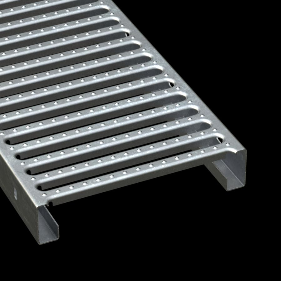 "McNICHOLS® Plank Grating Interlocking Plank, GRATE-LOCK®, Galvanized, ASTM A-653, 14 Gauge (.0785"" Thick), Round End Slot (12"" Width), 2-1/2"" Channel Depth, Slip-Resistant Surface, 46% Open Area"