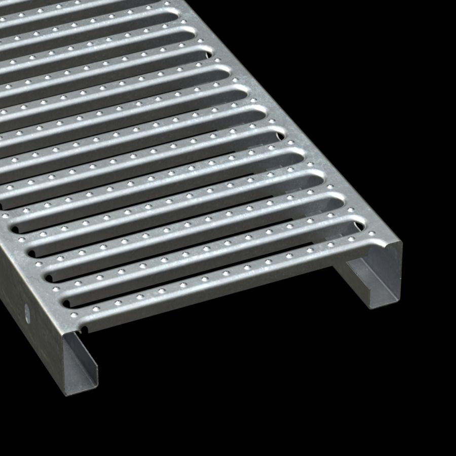 "McNICHOLS® Plank Grating Interlocking Plank, GRATE-LOCK®, Galvanized, ASTM A-653, 18 Gauge (.0516"" Thick), Round-End Slot (12"" Width), 2-1/2"" Channel Depth, Slip-Resistant Surface, 46% Open Area"