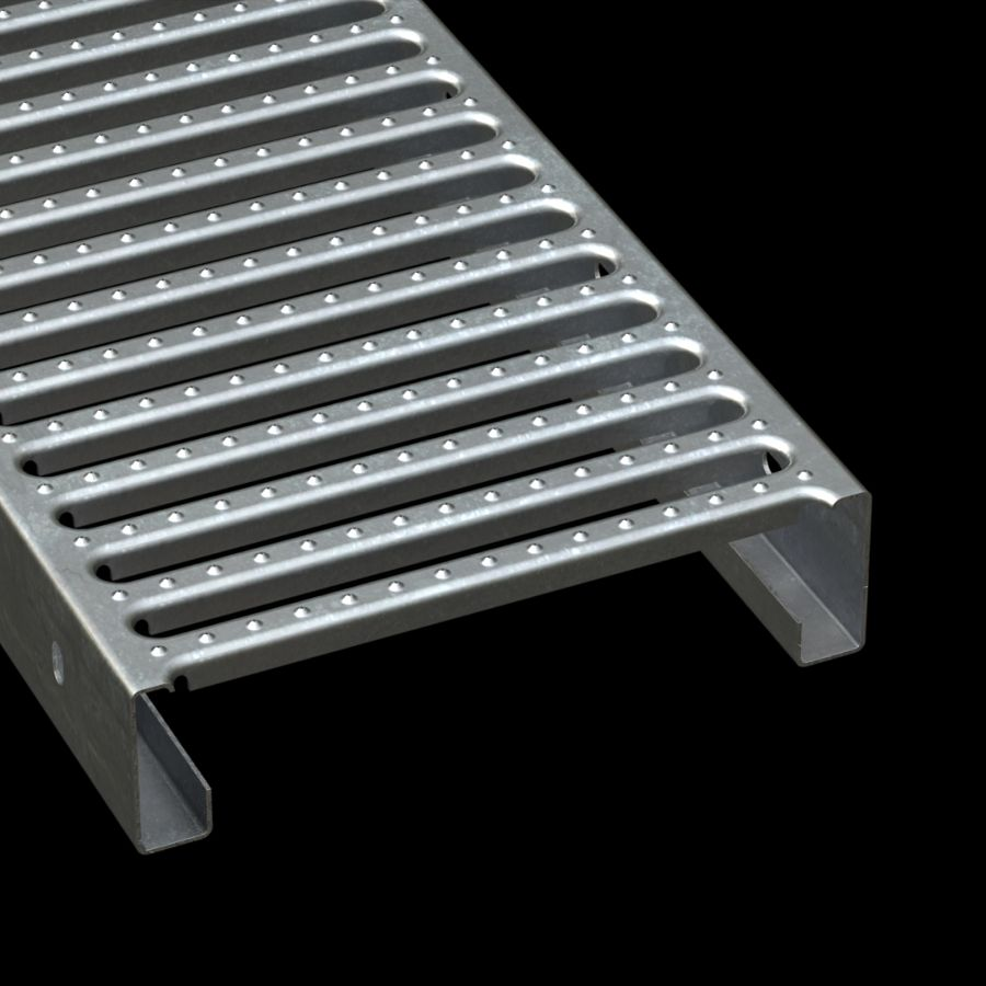 "McNICHOLS® Plank Grating Interlocking Plank, GRATE-LOCK®, Galvanized, ASTM A-653, 14 Gauge (.0785"" Thick), Round-End Slot (12"" Width), 3"" Channel Depth, Slip-Resistant Surface, 46% Open Area"