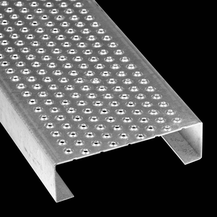 "McNICHOLS® Plank Grating Plank, TRACTION TREAD®, ADA, Galvanized, ASTM A-924, 11 Gauge (.1233"" Thick), 9-Row (7"" Width), 1-1/2"" Channel Depth, Slip-Resistant Surface, 3% Open Area"