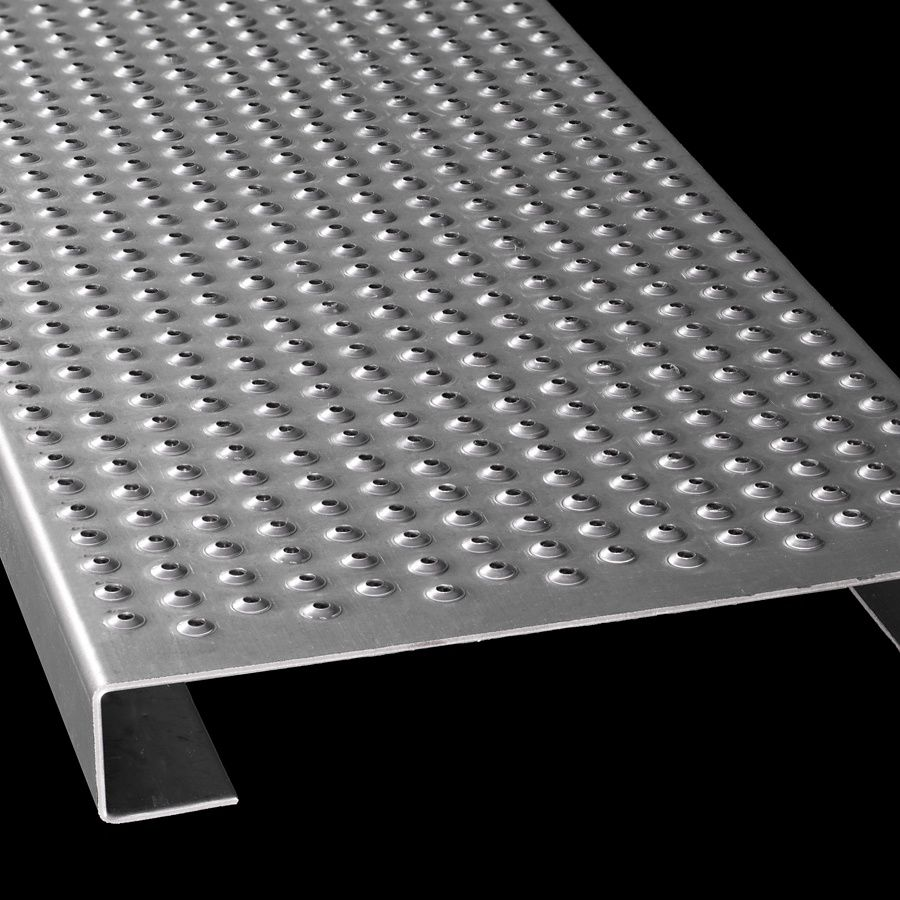 "McNICHOLS® Plank Grating Plank, TRACTION TREAD®, ADA, Galvanized Steel, ASTM A-924, 13 Gauge (.0934"" Thick), 15-Row (10"" Width), 1-1/2"" Channel Depth, Slip-Resistant Surface, 3% Open Area"
