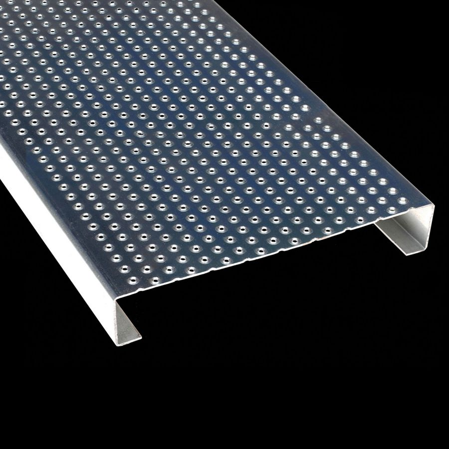 "McNICHOLS® Plank Grating Plank, TRACTION TREAD®, ADA, Galvanized Steel, ASTM A-924, 13 Gauge (.0934"" Thick), 15-Row (10"" Width), 2"" Channel Depth, Slip-Resistant Surface, 3% Open Area"