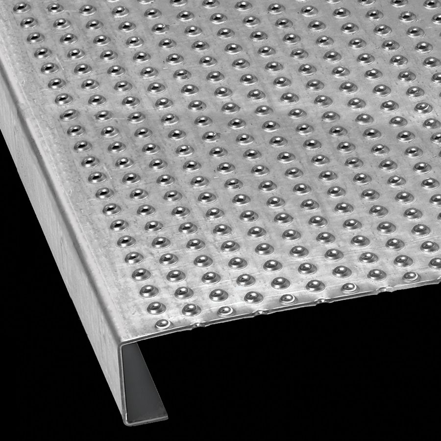 "McNICHOLS® Plank Grating Plank, TRACTION TREAD®, ADA, Galvanized Steel, ASTM A-924, 11 Gauge (.1233"" Thick), 18-Row (12"" Width), 1-1/2"" Channel Depth, Slip-Resistant Surface, 3% Open Area"