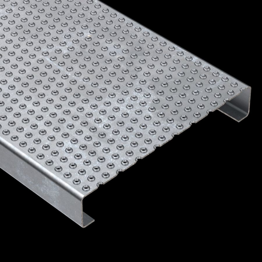 "McNICHOLS® Plank Grating Plank, TRACTION TREAD®, ADA, Galvanized, ASTM A-924, 13 Gauge (.0934"" Thick), 17-Row (12"" Width), 2"" Channel Depth, Slip-Resistant Surface, 3% Open Area"
