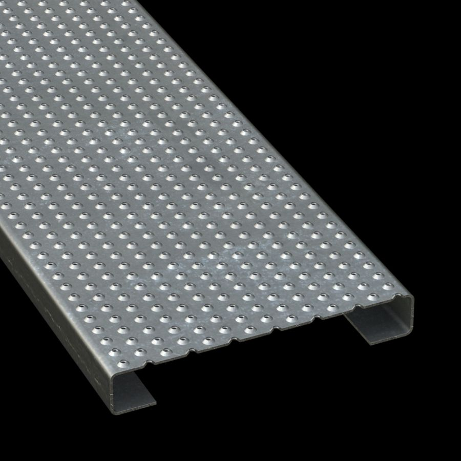 """McNICHOLS® Plank Grating Plank, TRACTION TREAD™, ADA, Galvanized Steel, G90, 13 Gauge (.0934"""" Thick), Button-Top (10"""" Width), 1-1/2"""" Channel Depth, Slip-Resistant Surface, 4% Open Area"""
