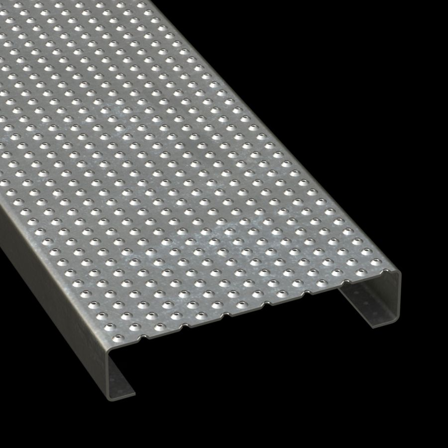 "McNICHOLS® Plank Grating Plank, TRACTION TREAD®, ADA, Galvanized Steel, G90, 13 Gauge (.0934"" Thick), Button-Top (10"" Width), 2"" Channel Depth, Slip-Resistant Surface, Plank, 4% Open Area"