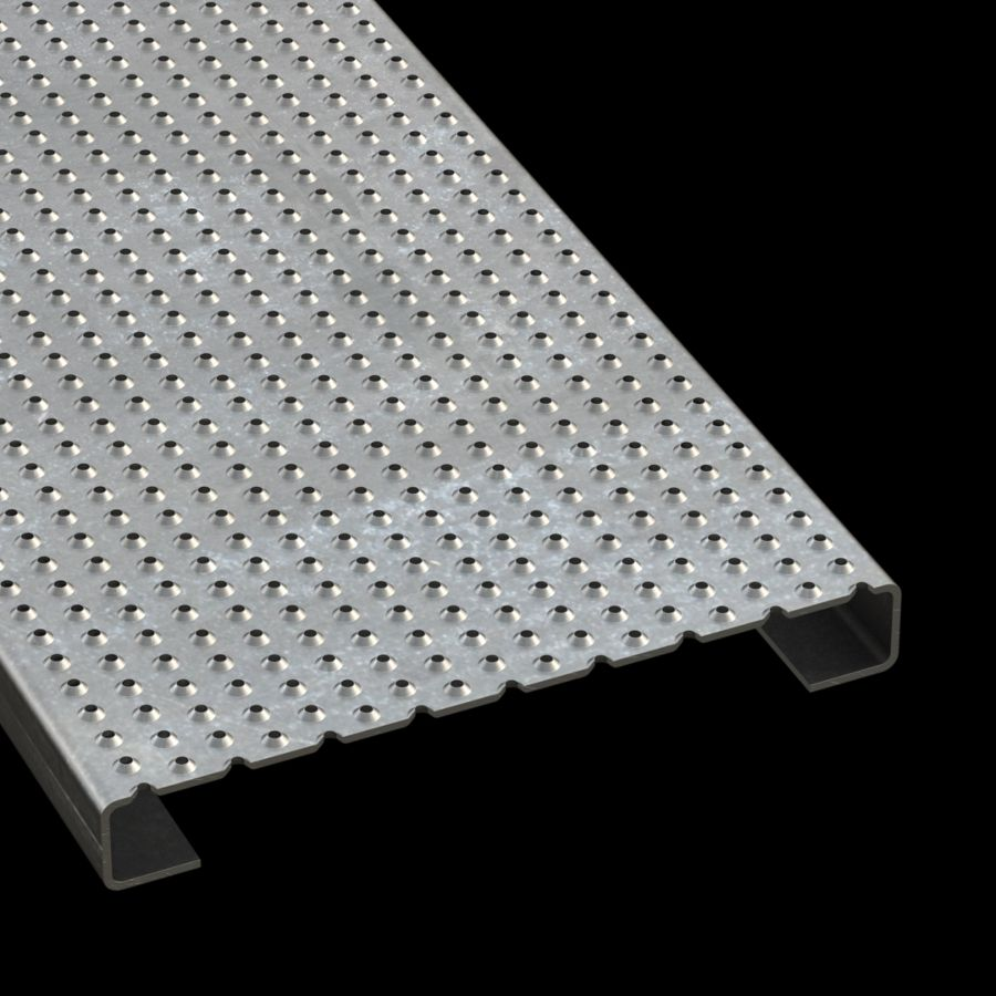 """McNICHOLS® Plank Grating Plank, TRACTION TREAD®, ADA, Galvanized Steel, G90, 11 Gauge (.1233"""" Thick), Button-Top (12"""" Width), 1-1/2"""" Channel Depth, Slip-Resistant Surface, 4% Open Area"""