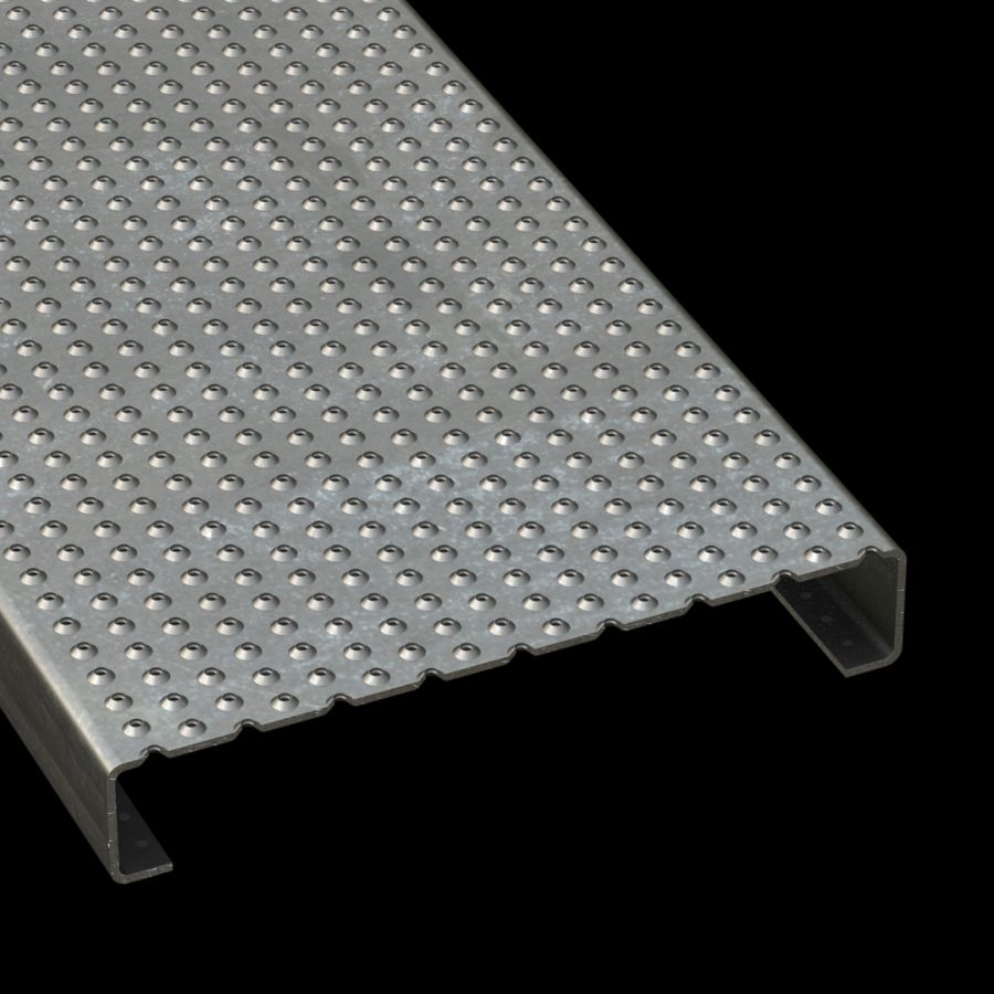"McNICHOLS® Plank Grating Plank, TRACTION TREAD®, ADA, Galvanized Steel, G90, 11 Gauge (.1233"" Thick), Button-Top (12"" Width), 2"" Channel Depth, Slip-Resistant Surface, Plank, 4% Open Area"