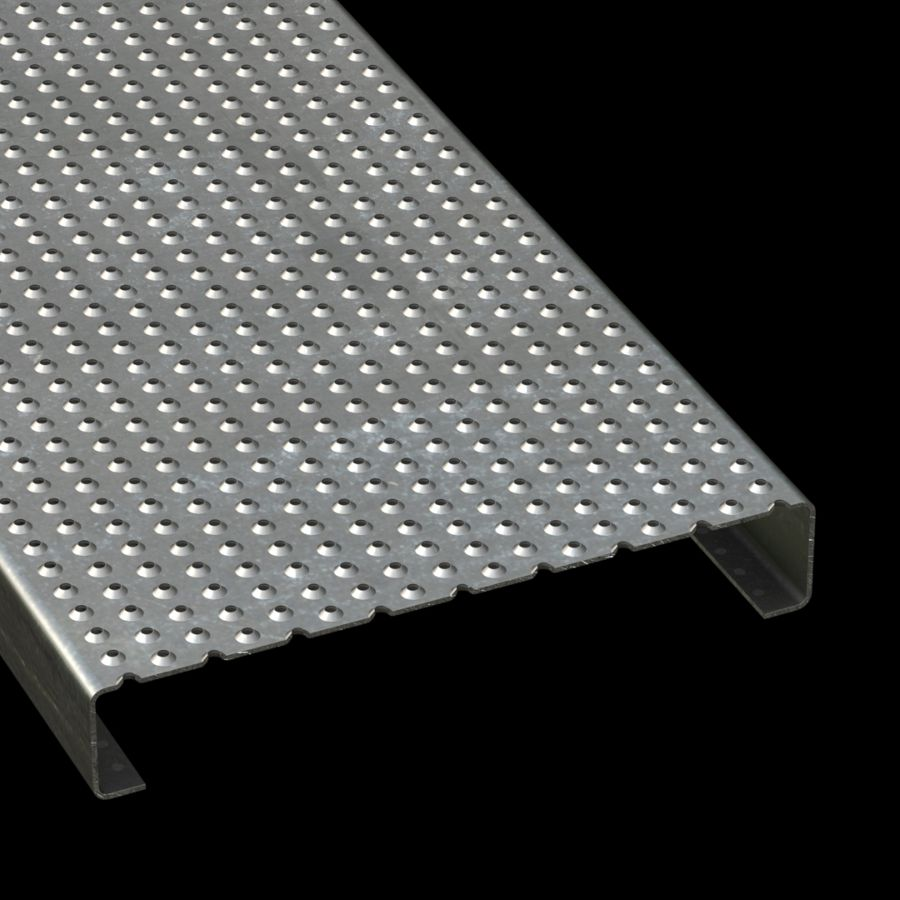 "McNICHOLS® Plank Grating Plank, TRACTION TREAD®, ADA, Galvanized Steel, G90, 13 Gauge (.0934"" Thick), Button-Top (12"" Width), 2"" Channel Depth, Slip-Resistant Surface, 4% Open Area"